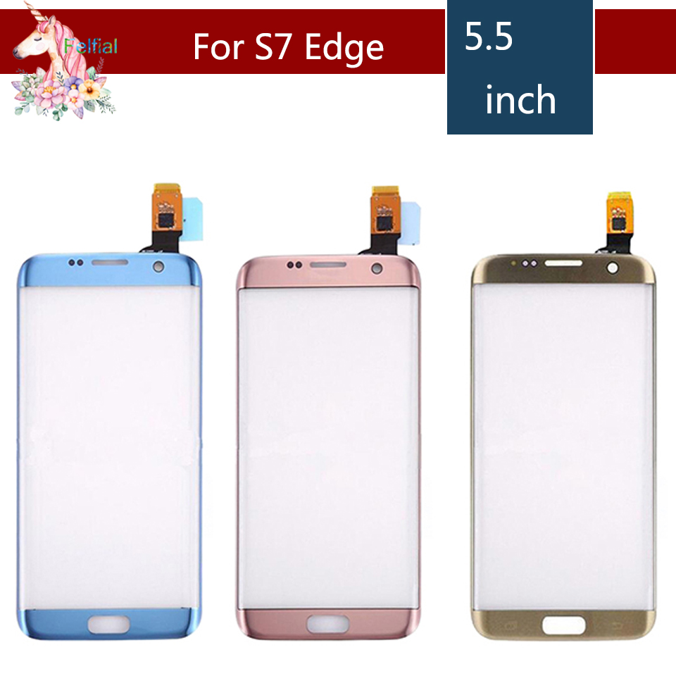 Original For Samsung Galaxy S7 Edge G935F G935 SM-G935F G935FD G935A Front Outer Glass Sensor Touch Screen Panel With Flex +LOGO