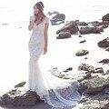 Gorgeous Rhinestone Beaded Mermaid Boho Wedding Dresses 2017 Sexy Long Lace Beach Bride Dress Vestido de Noiva Robe De Mariage