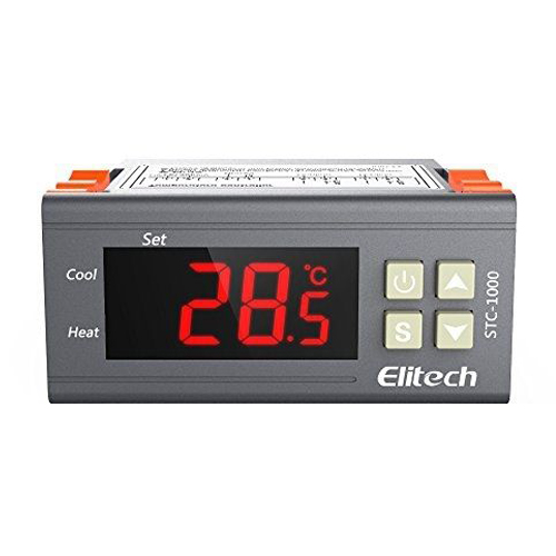 Elitech Digital Temperature Thermostat 2 relay output control ac 250v 20a normal close 60c temperature control switch bimetal thermostat