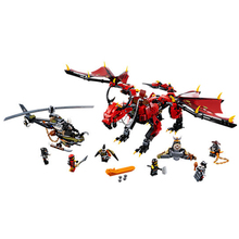 цена на NINJAGO Movie Action Figures Firstbourne HunterCopter Red Dragon legos compatible Model Building Blocks Bricks toy kids gift