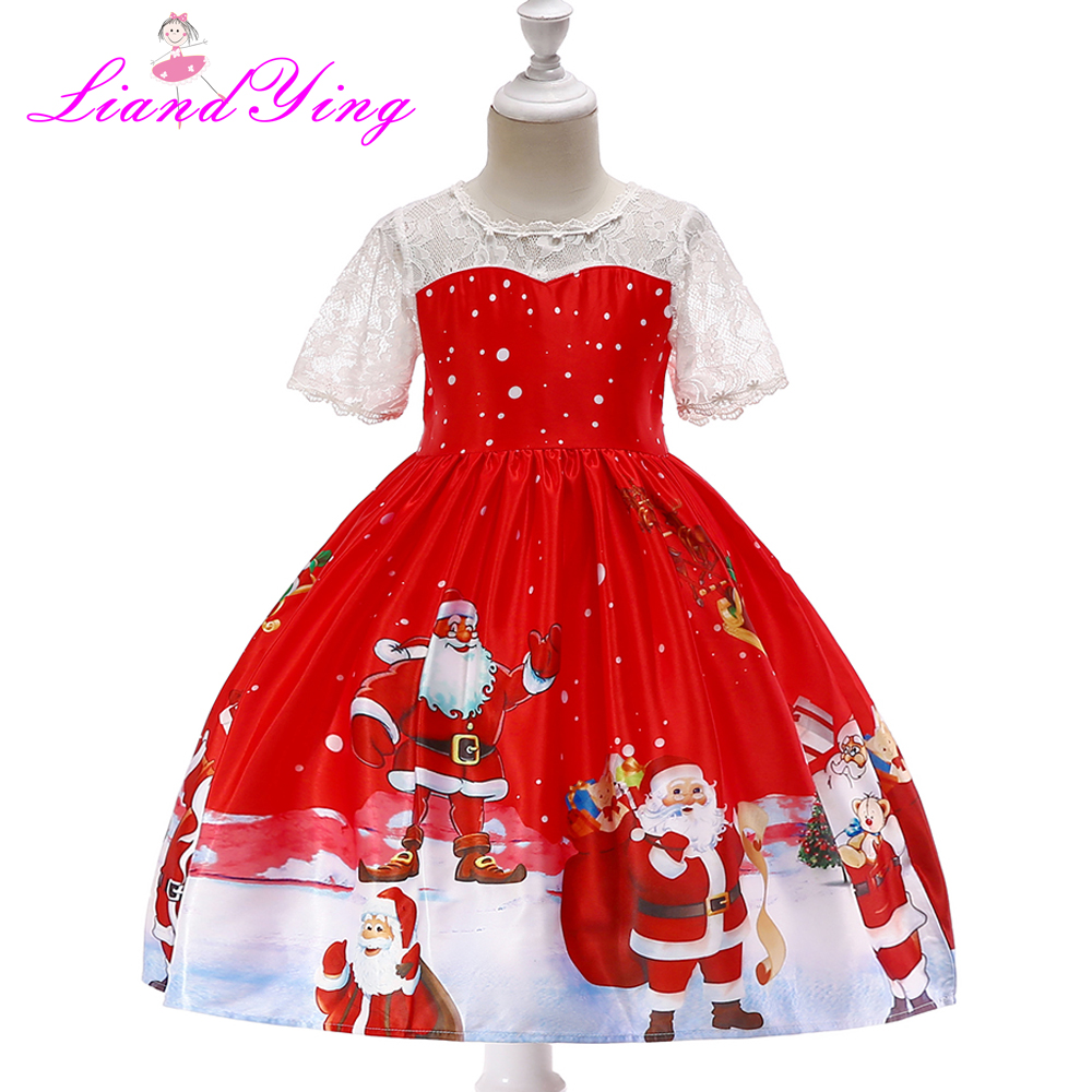 Toddler Kid Baby Girl Christmas Clothes Short Lace Sleeve Pageant Party Princess V Style Back Dress Birthday Party Dress christmas girl clothes girls dress toddler baby kids girl cartoon printed long sleeve dress pageant party princess dress jy16 f