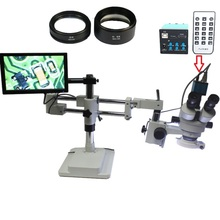 3.5X-90X Double Boom Stereo Trinocular Microscope 16MP HDMI USB Microscopio Camera 144 LED Objective Lens 10.1 inch IPS monitor