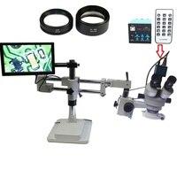 3.5X 90X Double Boom Stereo Trinocular Microscope 16MP HDMI USB Microscopio Camera 144 LED Objective Lens 10.1 inch IPS monitor