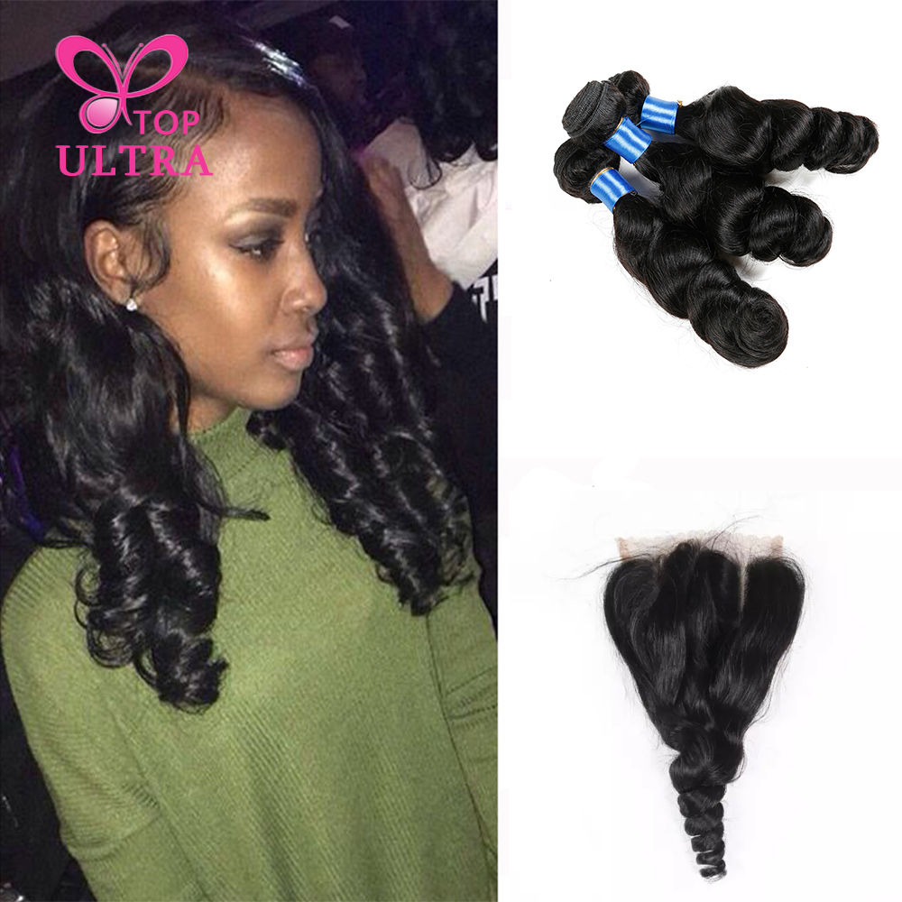 9a Brazilian Virgin Hair With Lace Closure 3pcs Loose Wave Brazilian