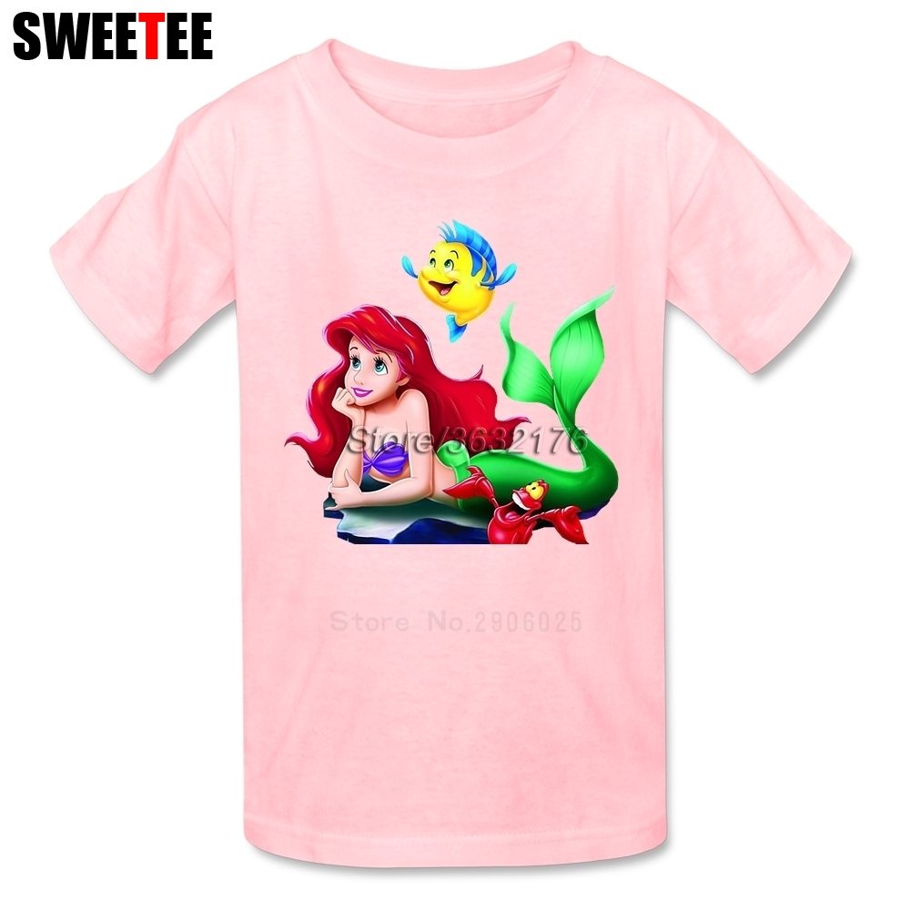 The Little Mermaid childrens T Shirt Infant Cotton 2018 Cartoon Toddler Crew Neck Kid Tshirt Clothes Boy Girl T-shirt For Baby