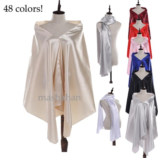 48 Warna! Satin Bridal Pernikahan Capes Wraps Mengangkat Bahu wanita Evening  Formal Dress Bridesmaid Selendang 37af14bd6c9e