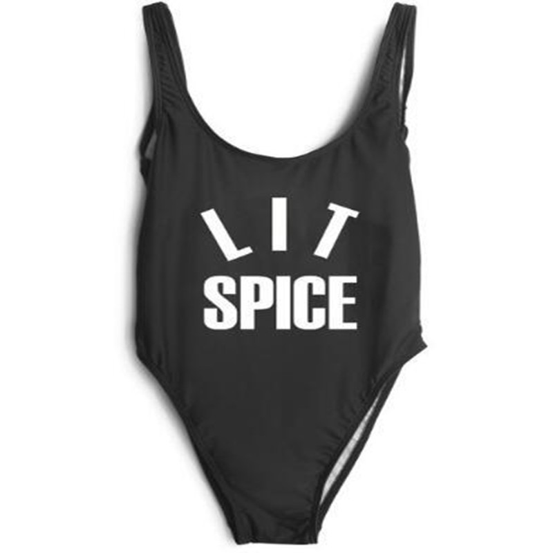 LIT SPICE Funny Letter 2017 Summer Women Sexy High Cut swimsuit One Piece Bath suit Bodysuit Backless Beach Swimwear tequila por favor letter custom swimsuit one piece swimwear bathing suit women sexy bodysuit funny swimsuits jumpsuits rompers