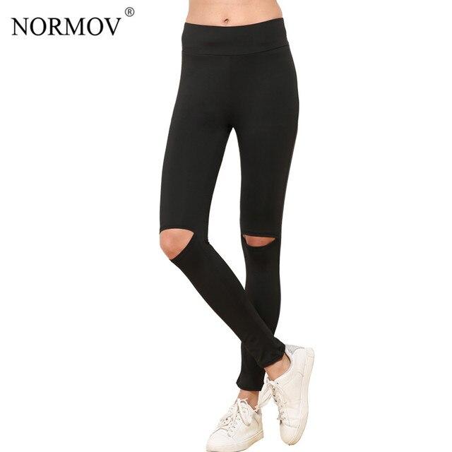 854bedf511040 NORMOV S-XL Women Ripped Leggings Fashion Polyester Workout Legging  Comfortable Activewear Slim Large Size Legging Women