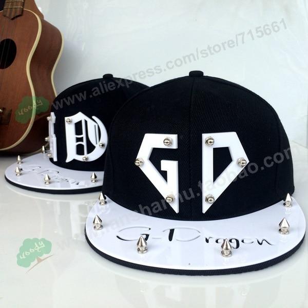 Fashion Korea Trendy Cool GD Bigbang G-dragon Spike Studs Rivet Kpop 3D acrylic Hat  Baseball hiphop Adjustable Cap