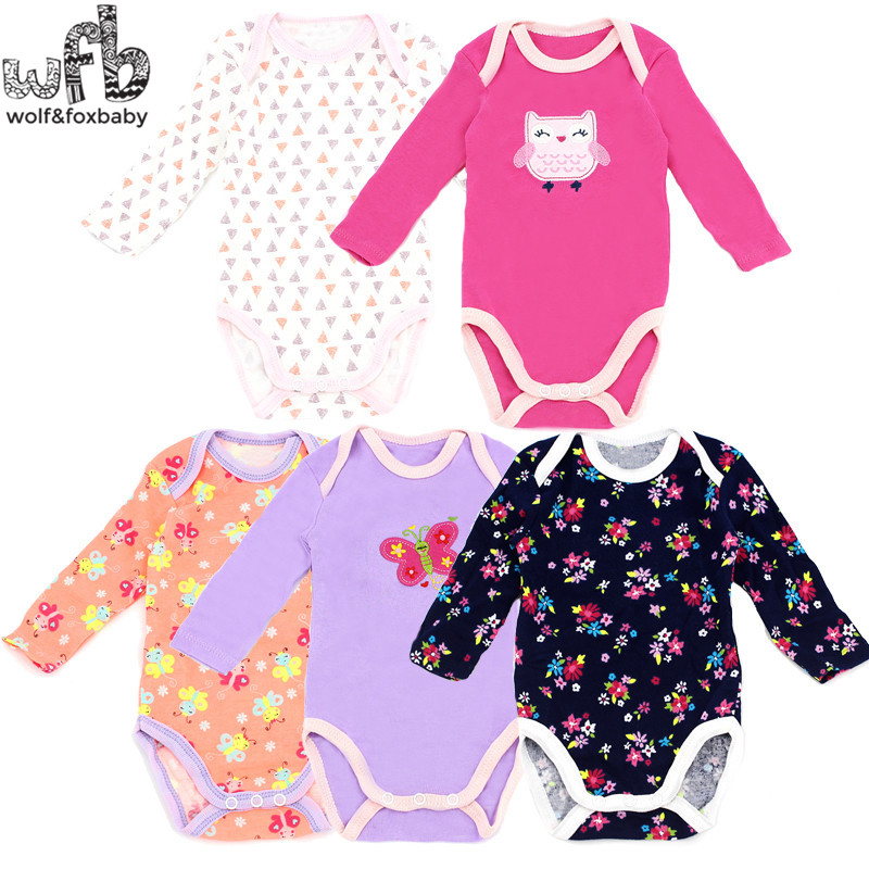Wobfaobxylf 5pcs/pack Long-Sleeved Bodysuits For 0-24months Baby