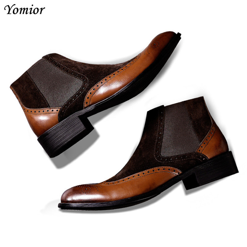 New Designer Men Shoes High Quality Luxury Brand Men Boots Genuine Leather Platform Sneakers Fashion Dress Chelsea Brogue Boots