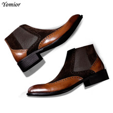 New Designer Men Shoes High Quality Luxury Brand Boots Genuine Leather Platform Sneakers Fashion Dress Chelsea Brogue