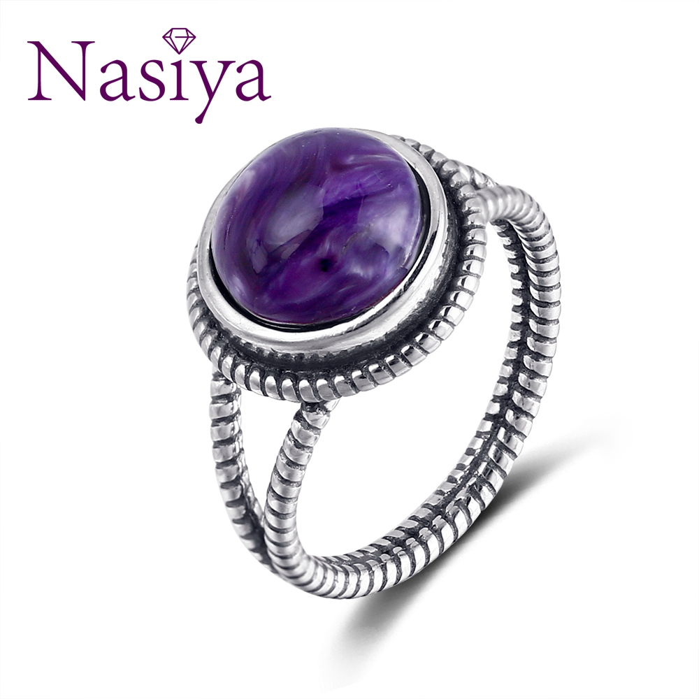 Nasiya New Arrival Vintage Charoite Rings For Women 925 Sterling Silver Jewelry With Natural Stones Anniversary Gift
