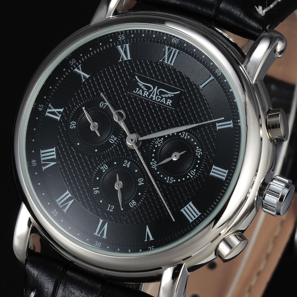 2016 new Luxury brand JARAGAR automatic mechanical self-wind 24 hour week date solid roman index dial PU leather men watches tevise men automatic self wind gola stainless steel watches luxury 12 symbolic animals dial mechanical date wristwatches9055g