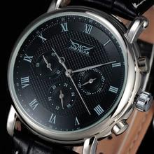 2016 новый люксовый бренд JARAGAR автоматические механические self-ветер 24 ч неделя дата твердые роман индекса искусственная кожа мужчины часы