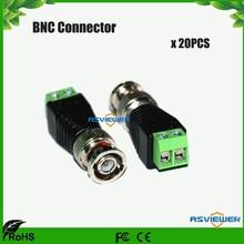 цена на Coax CAT5 to Camera CCTV BNC M Video Balun Connector, DC connector BNC-Screw 20pcs/lot