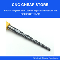 1pc HRC55 R2 0mm CNC Router Bit Tungsten Solid Carbide Coated Tapered Ball Nose End Mill