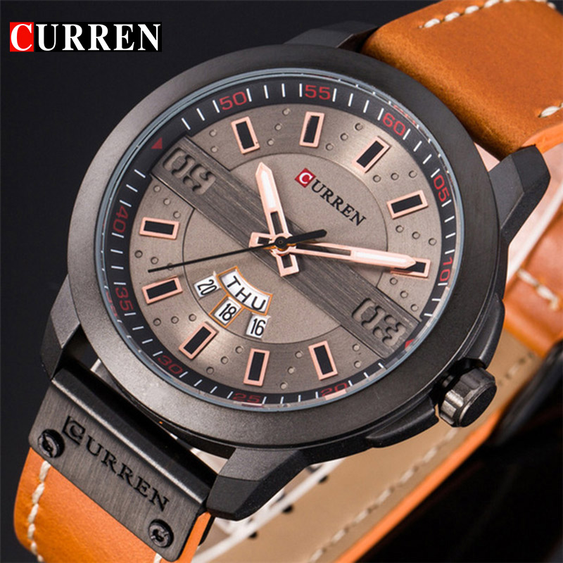 Luxury Military Men Quartz Watches CURREN Casual Leather Sport Watch Waterproof Complete Calendar Male Wrist Watch Clock new arrival longbo 3009 fashion men s quarzt watches leather strap waterproof calendar luxury sport watch men male s wrist watch