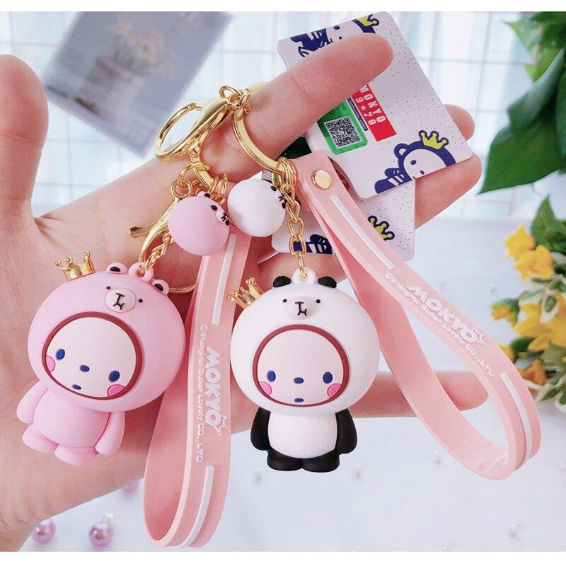 Authentic cartoon cute crown monkey keychain creative PVC panda couple bag key chain ring pendant