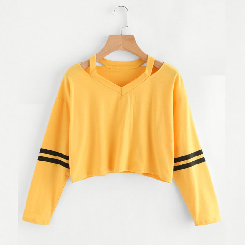 Fashion Womens Long Sleeve Sweatshirt V Neck Causal Tops T-shirt Female Autumn Women Mar ...
