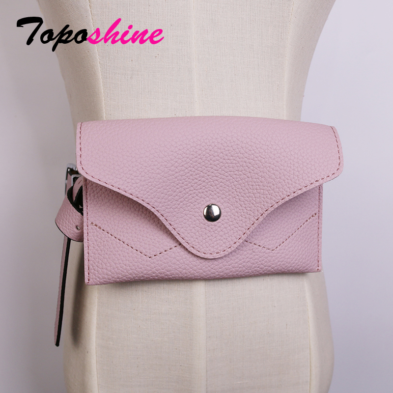 Toposhine Fanny Pack Waist Bag Women Small Belt Bag Luxury Brand PU Leather Chest Handbag Red Black White 2018 New Fashion Bags