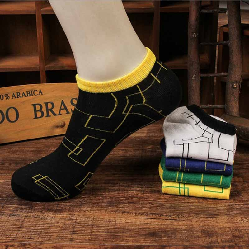 Invisible Men Cotton Short Sock Spring Summer Thin Labyrinth Pattern Short Socks Breathable Deodorant Hosiery