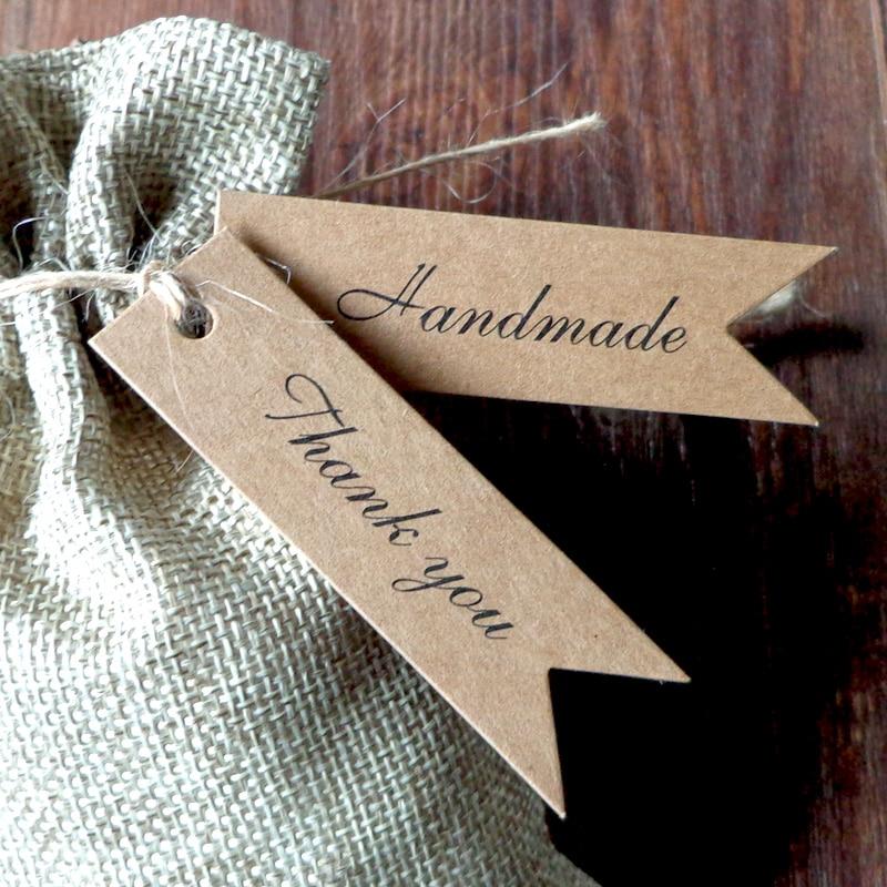 Tags Label Kraft Thank-You Party Wedding Handmade-String Gift 50pcs Tag-Hang-Tag Hemp