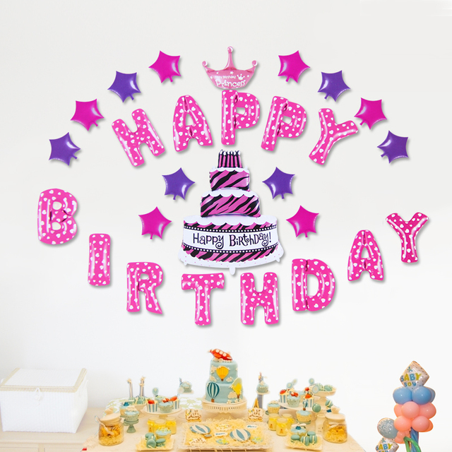 1Set Kids Boy Girls Happy Birthday Balloons Animal Lollipop Cake