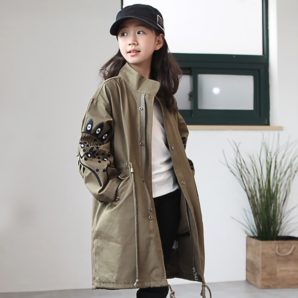 B-B17063 Spring Autumn Girls Casual Long jacket Childs Fashion Early Summer Kids Solid Color Coat 8-14Y Teenager Zip-up Jacket embroidered zip up baseball jacket