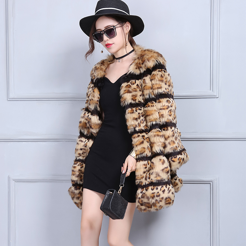 Women Winter  Plus Size Artificial Faux Fur Jacket Luxury Leopard Printed Coat