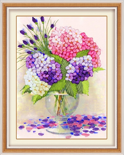 3d Flower Vase Ribbon Embroidery Kit With Needle Canvas Paint