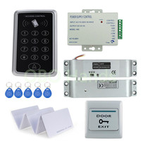 125 Khz RFID Card Standalone Access Control Kit Electric Bolt Lock Power Exit Keypad Keys