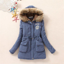 Women jacket parka casual long sleeve slim medium long thick warm winter coat with hood faux