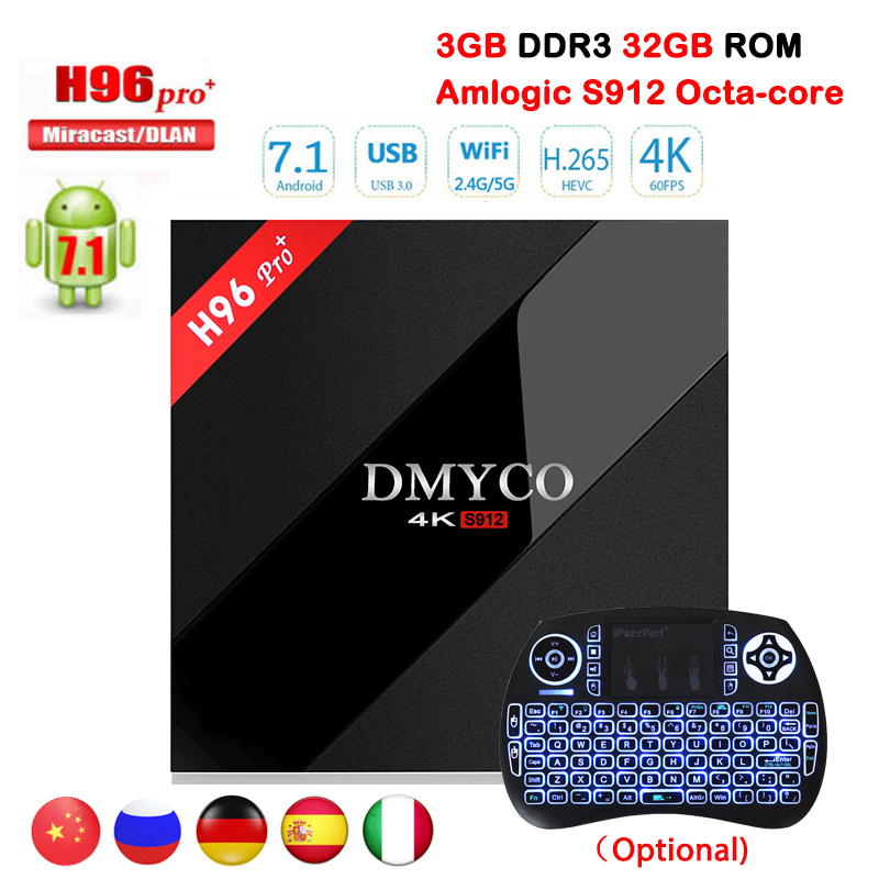 H96 pro+ plus Smart TV Box S912 Octa Core UHD 4K 3GB/32GB 1000 LAN 2.4G & 5.0G WiFi Android 7.1 DLNA Miracast HD 4K Media Player h96 pro plus tv box smart android 7 1 s912 bt4 1 octa core 4k 3gb 32gb 1000lan 2 4g 5 0g wifi media player pk x92 tx9 pro