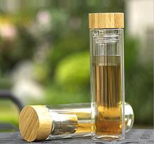 2016 neue hohen bor-silizium doppelschicht bambus abdeckung glas tasse wasser flasche geschenke cup mit tee trichter dicke wärme isolierung