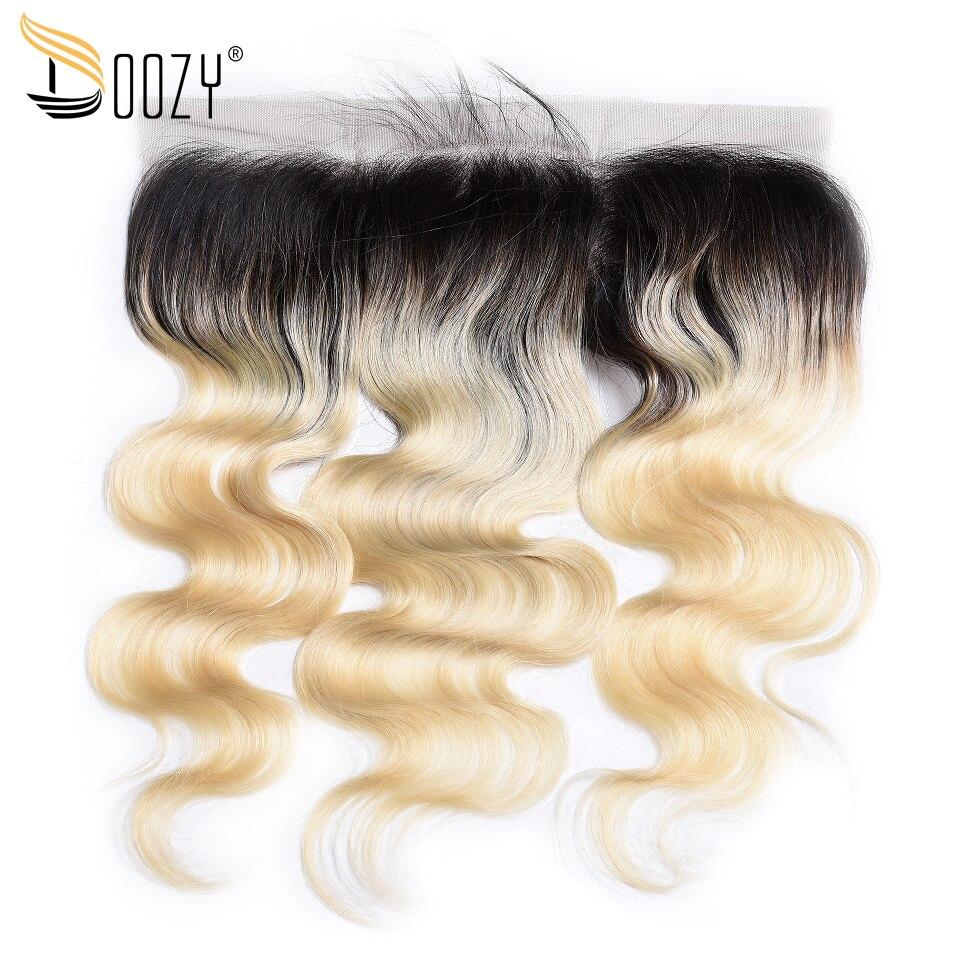 Doozy Российской блондинка уха до уха бразильский закрытие волос Ombre 1b/613 объемной волны человеческих волос кружева фронтальной