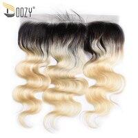 Doozy Ombre 1b/613 Russische Blonde Körperwelle Brasilianische Haar Verschluss 13x4 Remy Menschenhaar Spitze Frontal