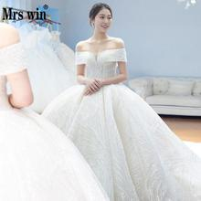 Vestido De Noiva 2019 Mrs Win Brush Train Wedding Dresses