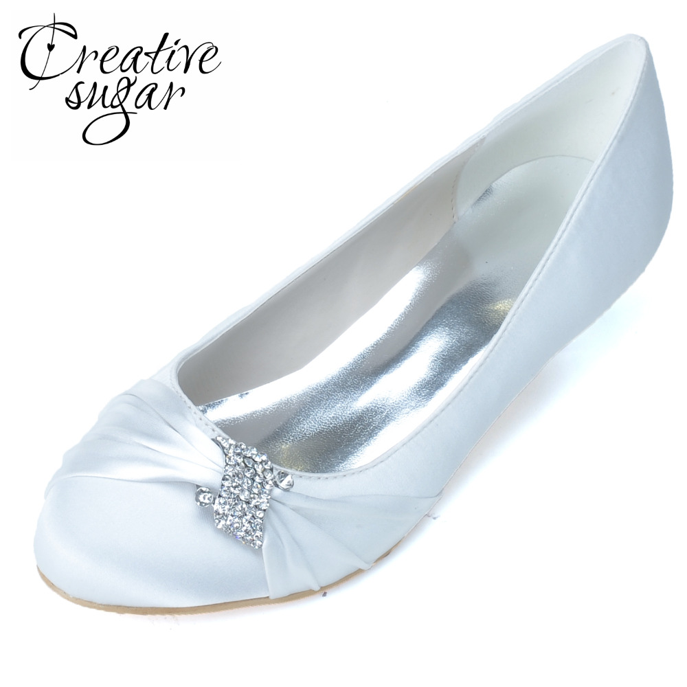 Creativesugar Elegant satin med low heel slip on shoes rhinestone know pumps for wedding party prom blue Champagne purple white summer baby girl tulle dress children clothing girl 7 years party girls dresses kids clothes princess tutu dress casual outfits