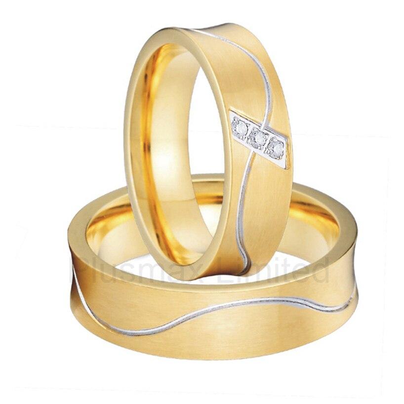 Custom jewelry 2016 new trend gold color unique titanium steel couples wedding rings set