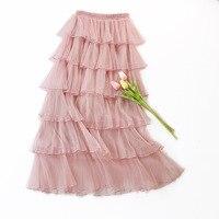 a1a722f83 Descuento 2019 damas elegante Satén de seda cintura alta falda Rosa ...