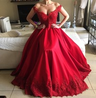 Sexy Beaded Red Lace Long Evening Dresses 2018 Off The Shoulder V Neck Backless Women Formal Evening Party Gowns Robe De Soiree