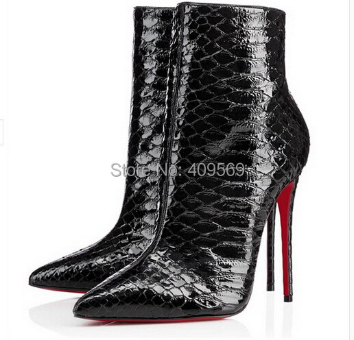 de93c8b3a21 Free Shipping Brand Red Bottom High Heels Shoes Women Boots Black Snakeskin  Boots Pointed Toe Pumps Fashion Ankle Boots