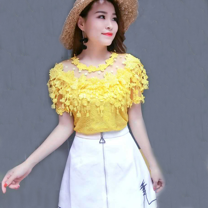 2018 New Summer Autumn Women Lace   Blouse   Sweet Floral Hollow Out Lace   Shirt   Female Backless Mesh   Blouses   Blusas Short Tops AB929