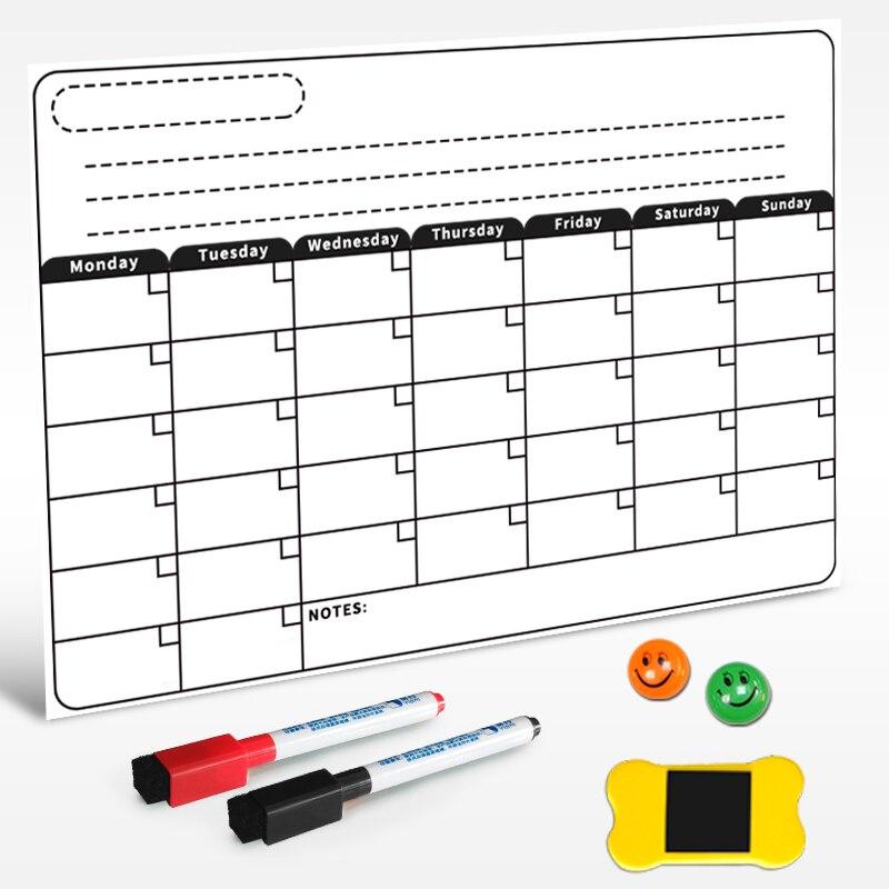 Planificador mensual magnético YIBAI tablero de borrado en seco para nevera y Escuela en casa con regalo gratis