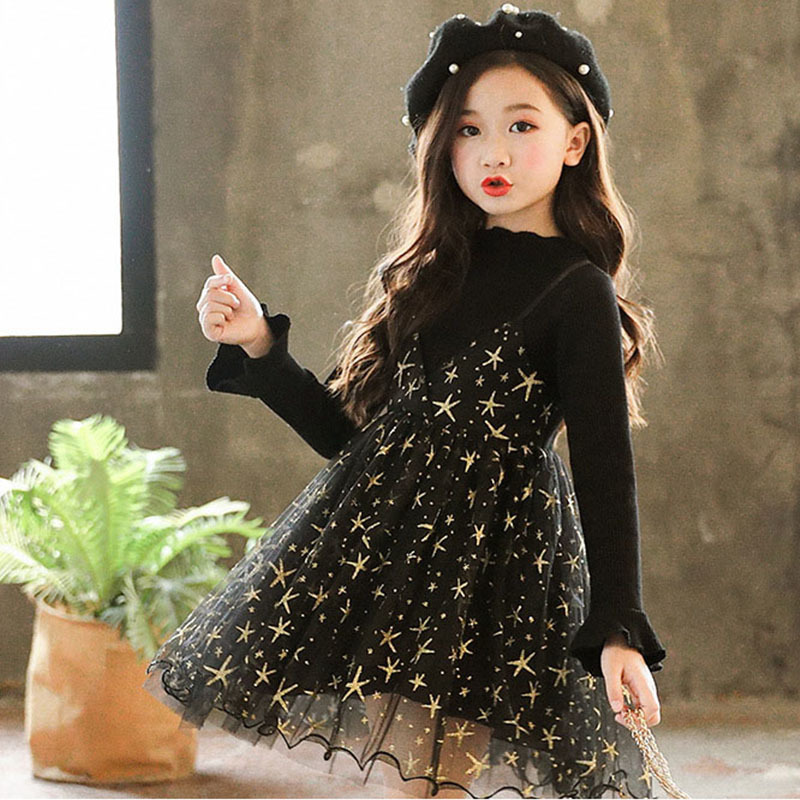 Knitted Baby Girls Princess Dress Tulle Dresses For Girls Winter Autumn Long Sleeve Princess Patchwork Little Party Dress 2018 autumn girls children s kids baby long sleeve lace mesh tutu patchwork basic dresses princess wedding party dress vestidos s5691