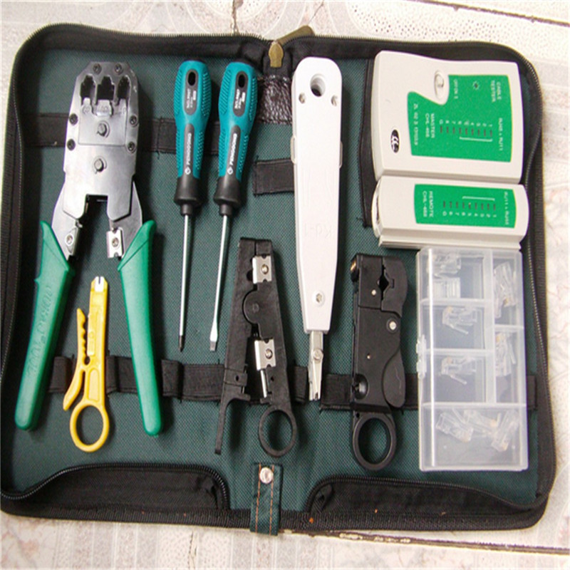 9 in 1 LAN Network Tool Kit Set Bag Cable Tester Connector Crimper Plug Plier Wire Cutter Screwdriver for RJ45 RJ11 RJ12 CAT5  цены