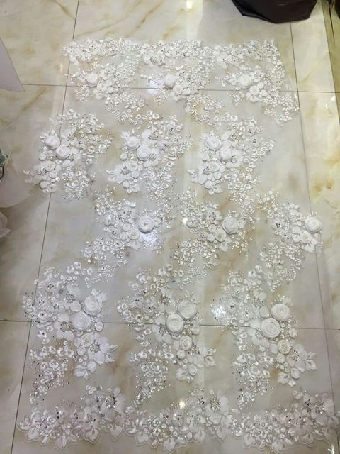 93a88cfc5b 5yards htt001# offwhite ivory luxury 3d pearls beads sequin embroidery net  mesh lace fabric for evening dress/wedding