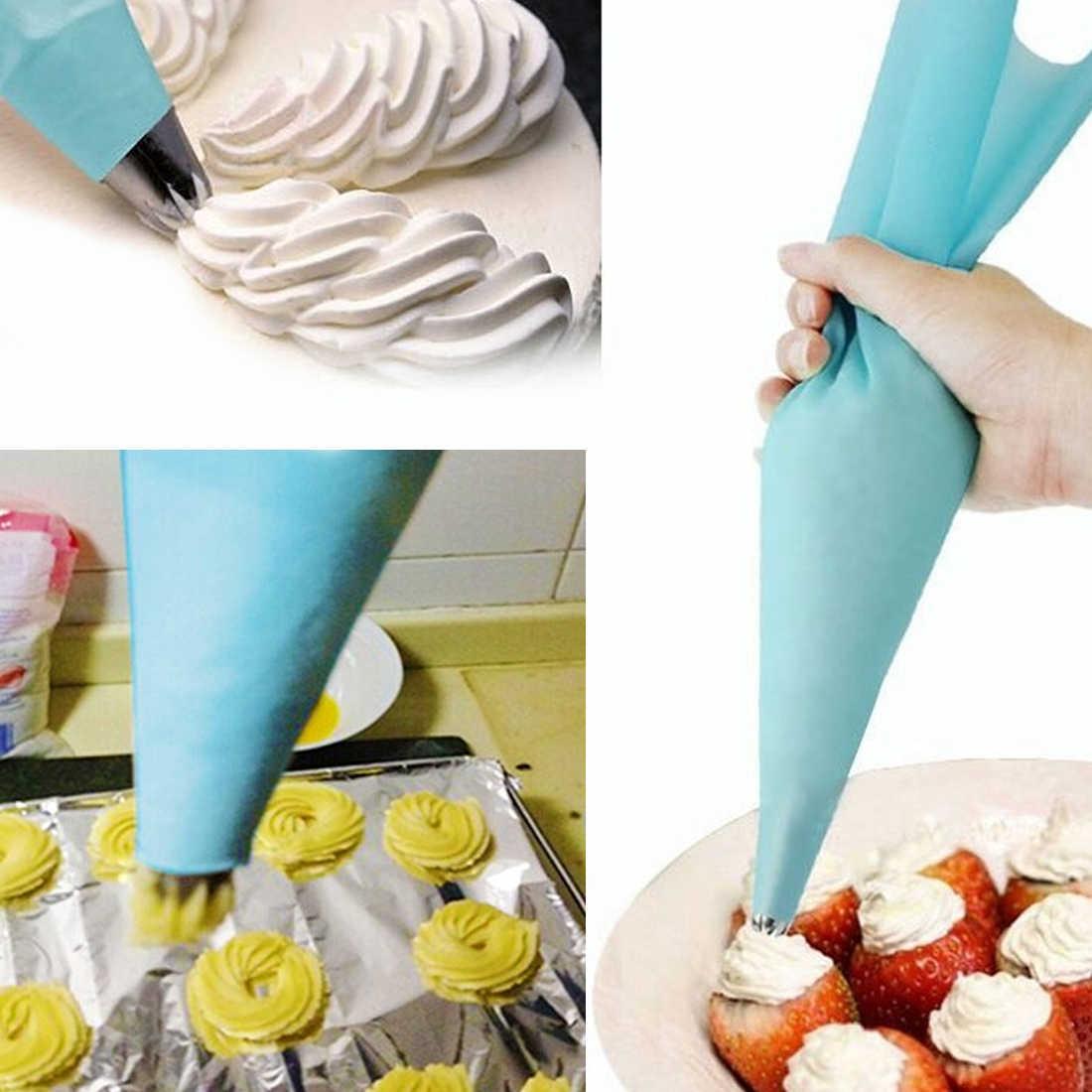 Ferramentas de cozimento de Decoração 4 pçs/set Confeitaria Silicone Reutilizável Confeiteiro Piping Creme Pastelaria Bag Decoração Do Bolo Bocal de aperto