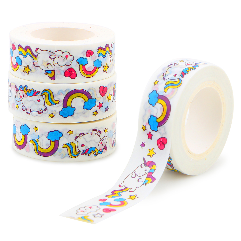 4Pcs/lot Kawaii Unicorn Washi Tape DIY Decorative 15mm*10m Adhesive Masking Tapes Cute Washi Tape Decorative Adhesive Tape